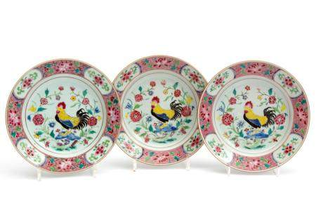 Three famille rose cockerel plates
