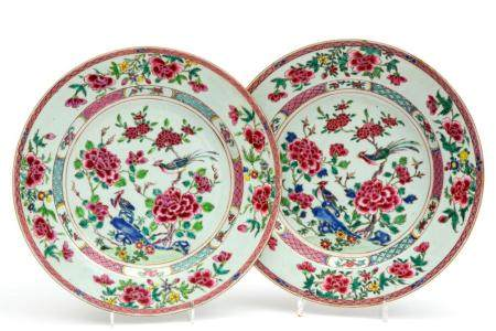 Two large famille rose bird plates