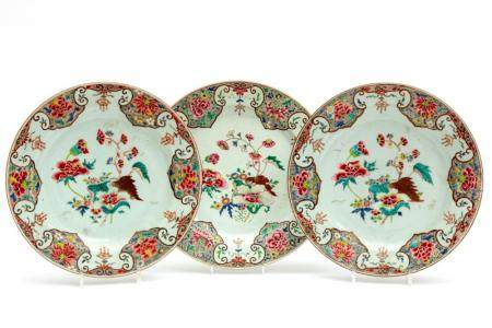 Three famille rose floral chargers
