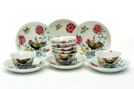 Six famille rose cockerel cups and saucers