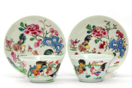 Two famille rose cockerel cups and saucers