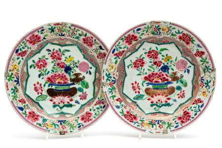 Two famille rose floral charger plates