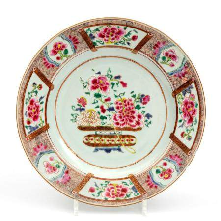 A famille rose flower basket plate