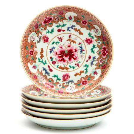 Six large famille rose floral plates