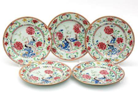 Five famille rose bird plates