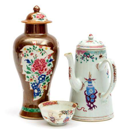 A chocolate pot, a Batavia ware lidded vase and a teabowl