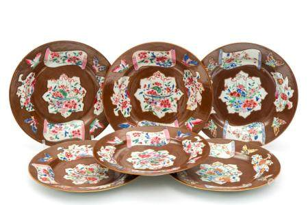 Six Batavia ware plates with decoration in famille rose