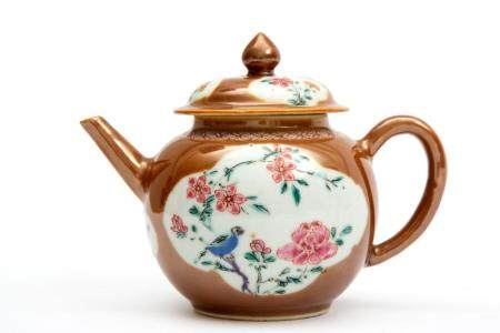 A Batavia ware brown glazed famille rose teapot