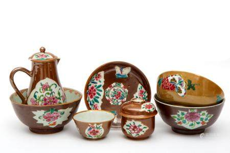 A selection of Batavia glazed tea wares