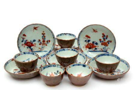 Six Batavia glaze imari style cups and saucers