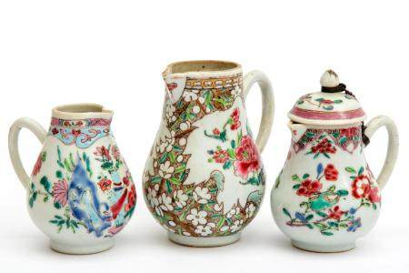Three famille rose cream jugs