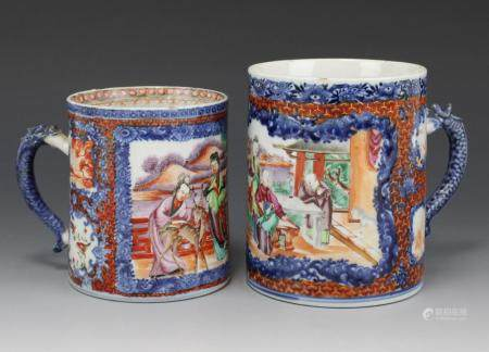 Two famille rose mandarin tankards