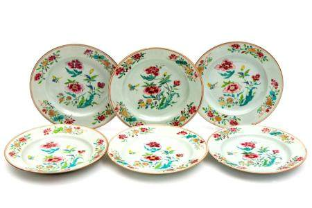 A set of six famille rose plates