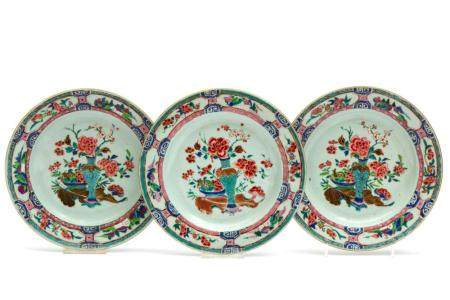 Three famille rose plates