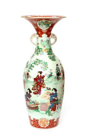 A large Japanese Arita porcelain vase with figures
