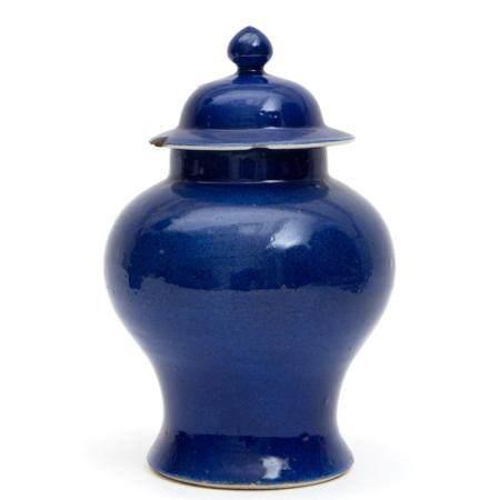 A monochrome powder blue porcelain covered vase