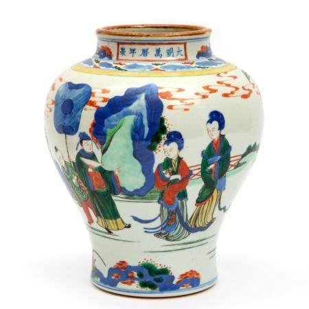 A famille verte vase with figures
