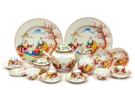 An Edme Samson famille rose tea service