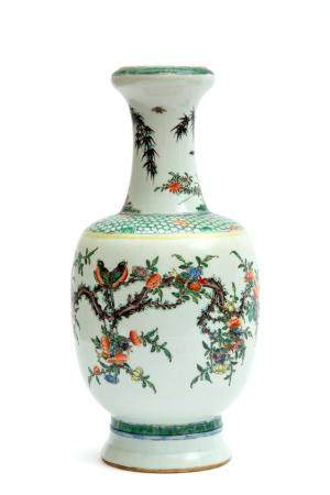 A famille verte vase decorated with birds and florals