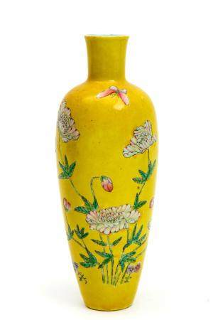 A Republic period yellow glazed and famille rose vase