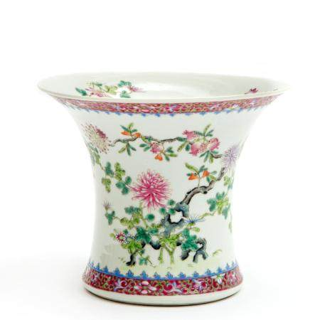 A Chinese floral famille rose vase