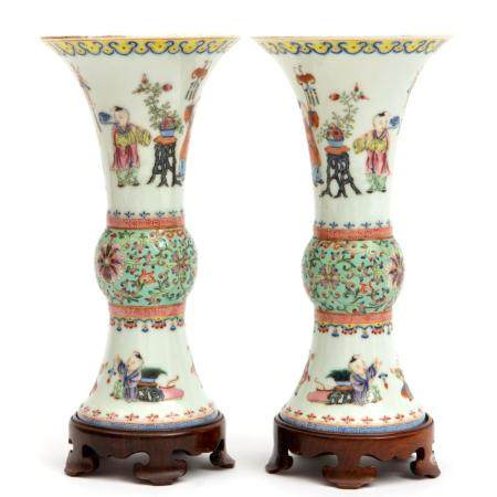 Two Gu-Form playing boys famille rose vases