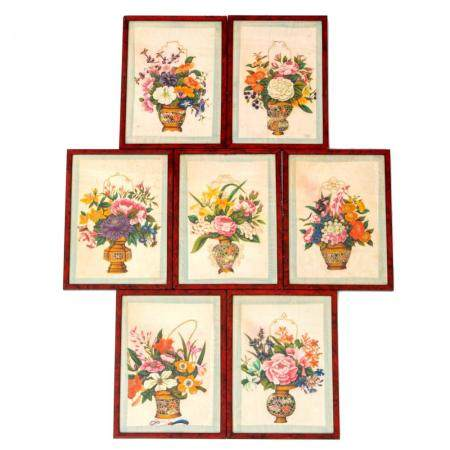 Seven Chinese flower basket paintings on pith rice paper