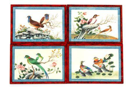 Four Chinese paintings on pith rice paper