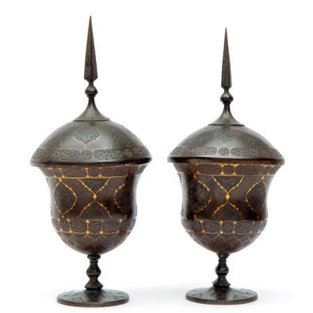 A pair of Indo-Persian covered coupes of lacquered metal