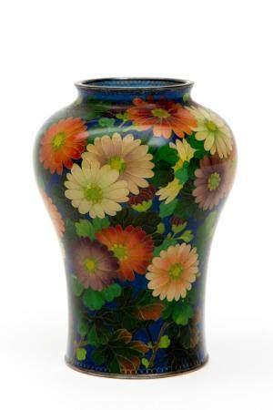 A Japanese Plique-à-jour enamel vase