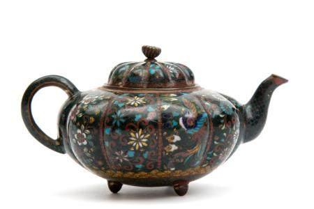 A small Japanese cloisonné teapot