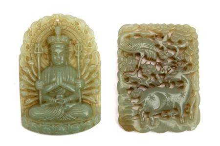 Two pieces of Jade: a Buddha pendant and amulet.