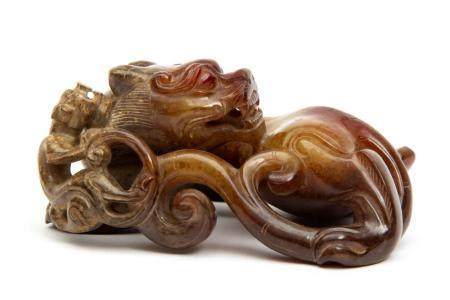 A carved hardstone figure of a dragon