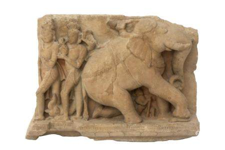 A buff sandstone relief of an elephant