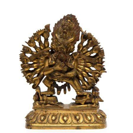 A gilt bronze figure of Vajrabhara and Vajra Vetali