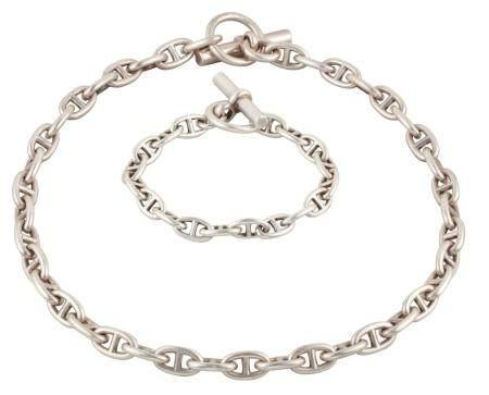 HERMÈS Paris Demi-parure Chaîne d'ancre en argent composée d'un collier et d'un bracelet, fermo