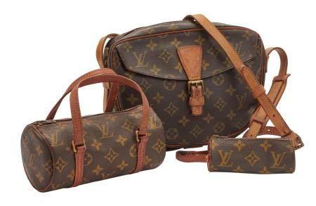 LOUIS VUITTON vintage Lot composé d'un sac Mademoiselle, d'un étui pour trois balles de golf et