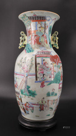 famille rose vase with character decoration
