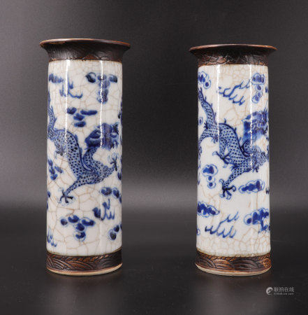 Pair of cylindrical vases - Nanjing - decorated with dragons