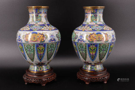 Pair of cloisonne vases marked under the vases
