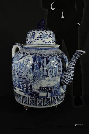Imposing blue white teapot