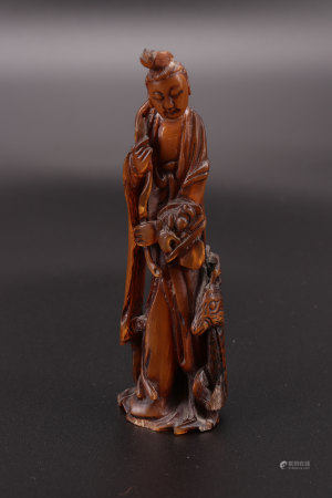 Rare guanyin sculpture with a deer in rhino horn 18th