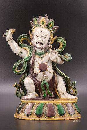 Mahakala in Ming glazed stoneware