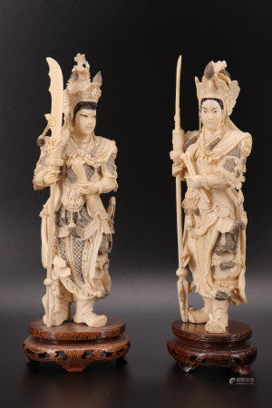 Pair of finely carved ivory Chinese warriors 19th