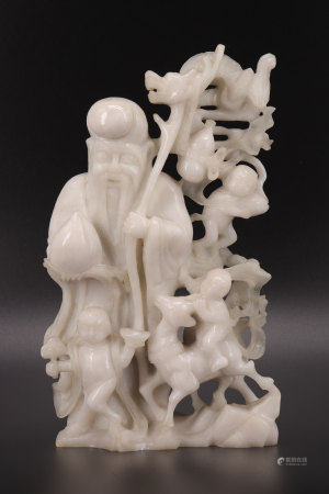 White jade carved with a sage, children dragon and fallow deer 1900