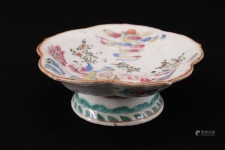 19th century famille rose china bowl with character decoration