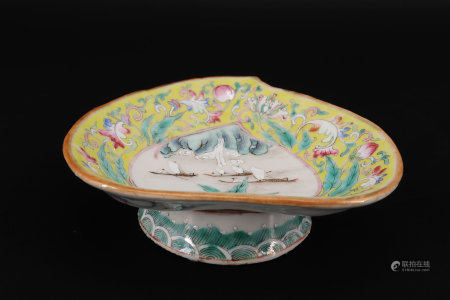 19th century famille rose china bowl with boat decor