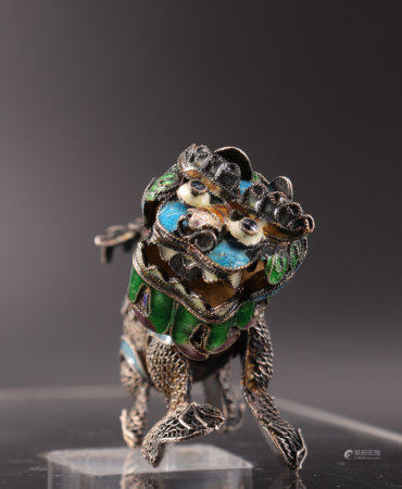 Chinese pendant in silver and enamel 19th Dog of Fô