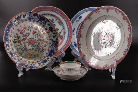 Lot of 4 plates and a bowl in 18th century Chinese porcelain