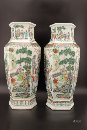 "China - Large pair of hexagonal ""Famille verte"" vases with character decoration"